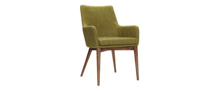 MILIBOO Lot de 2 fauteuils design bois et tissu vert SHANA