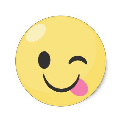 #Silly Smiley Tongue Out Emoji Classic Round Sticker - #emoji #emojis #smiley #smilies