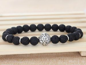 Fashion Men's Black Lava Rock Energy Silver Lion Elastic Beaded Bracelet 8mm S13 | eBay
