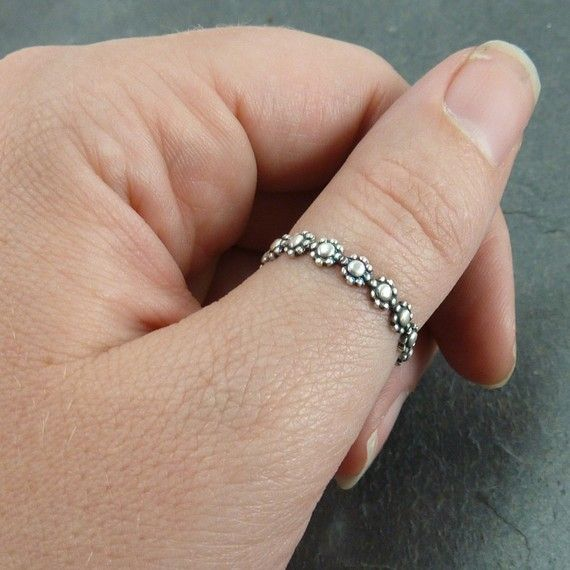 Size 8 Stack Ring or Thumb Ring  Daisy Chain  by one9designs, $25.00