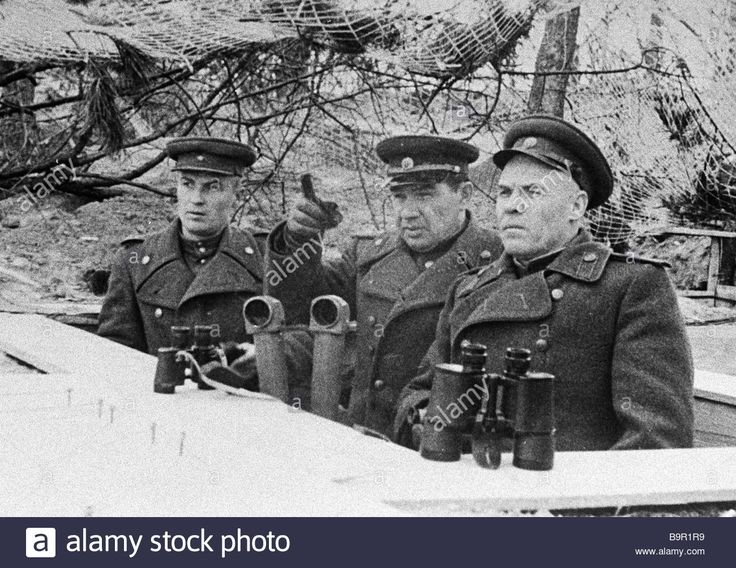 Commander of the 8th guards army Vasily Chuikov center at the observation point during the taking of Berlin