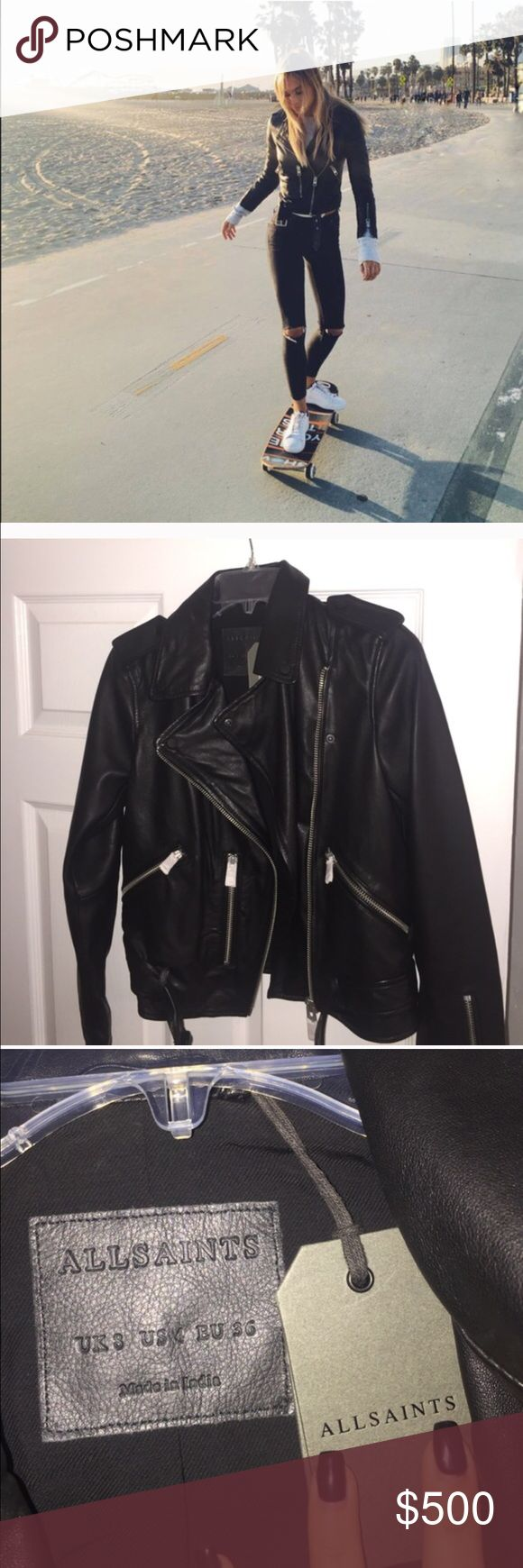 Alexis Ren black All Saints Balfern leather Jacket Brand new with tags and box, All Saints Balfern leather jacket. Exact same as the one Alexis Ren wears. Crazy comfy and beautiful leather. Will last for years and years. These NEVER go on sale at all saints so get here for a steal - right now on US all saints. It is hands down most beautiful leather jacket I have ever seen- I love mine and wear it all the time. Absolute Closet staple- no trades please UK 8 US 4 All Saints Jackets & Coats