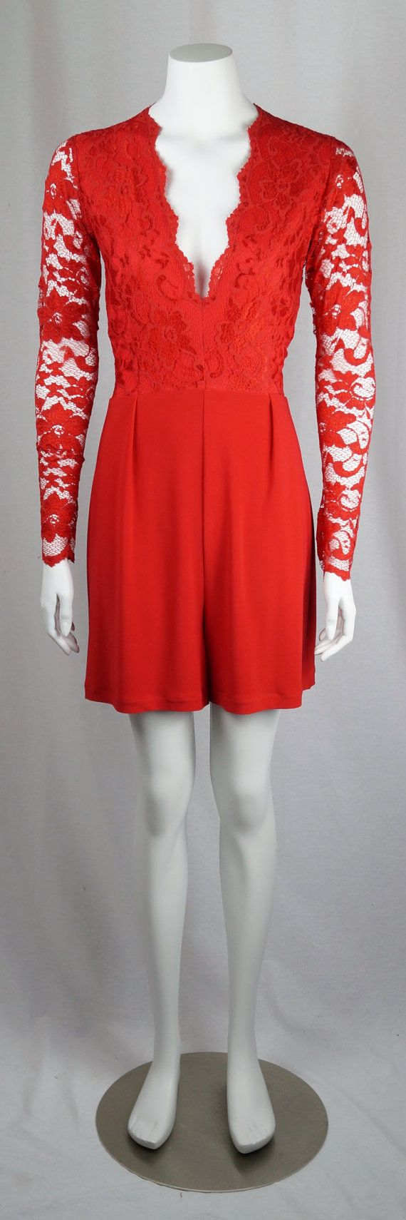 Baylis & Knight Red LACE Long Sleeve Low Cut Plunge MINI Short