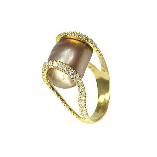 Image of Yvel - Pearl & Diamond Golden Brown Ring