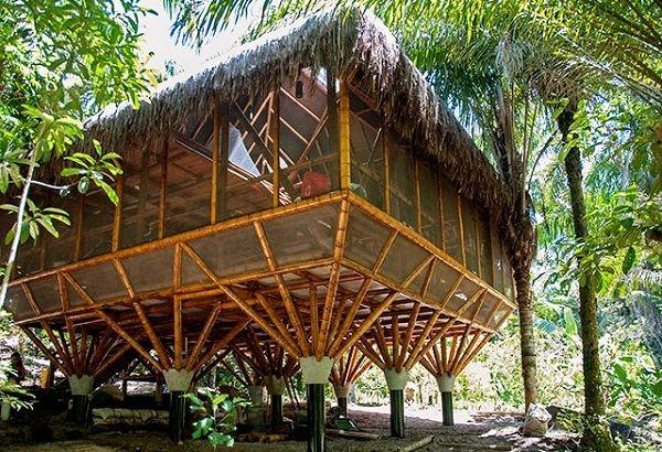 Albergue ecológico construído em bambu na Bahia