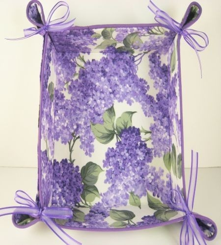 THis would be great for any little gift  for a special friend on any occassion! Lilac Fabric Basket Tray Mothers Day Floral Purple Ribbons 7 square: Baskets Trays, Purple Ribbons, Floral Purple, Dark Purple, Fabrics Baskets, Lilacs Fabrics, Purple Lilacs, Lilacs Baskets, Floral Fabrics