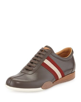 Freenew+Leather+Sneaker,+Chocolate++by+Bally+at+Neiman+Marcus.