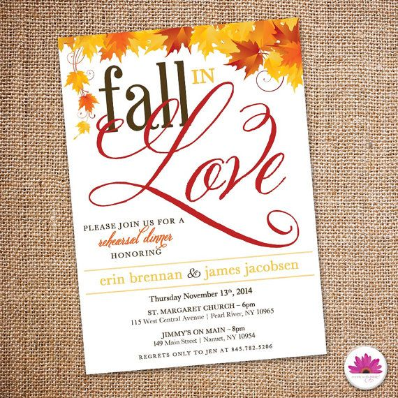 Fall in Love - Rehearsal Dinner Invitation (Digital file)