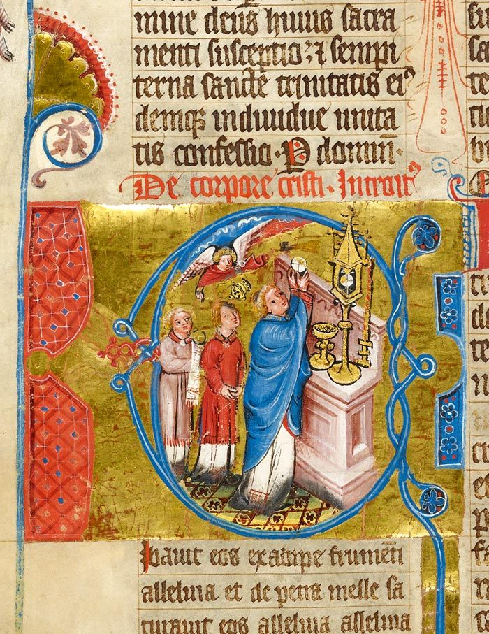 Celebration of Mass within initial C | Missal | Germany, Hamburg | before 1381 | The Morgan Library & Museum