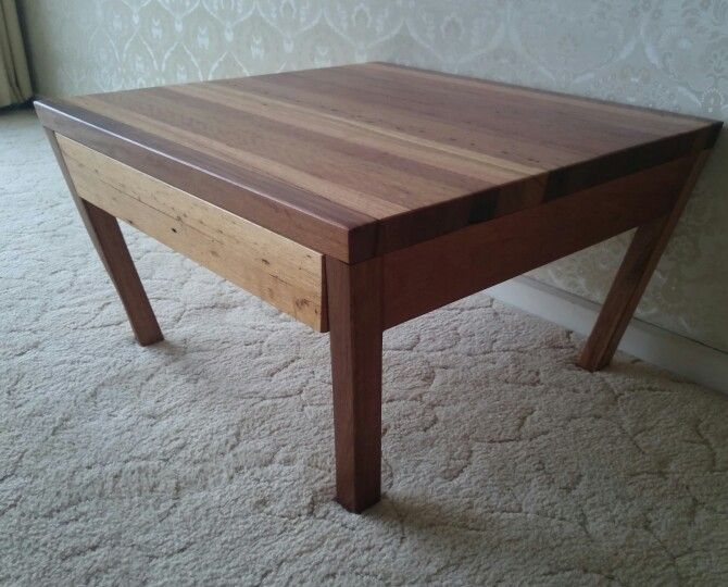 Recycled  timber coffee table  700 x 700 x 400  Recycled mixed species hardwood  Drawer installed.