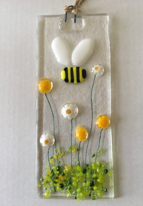 Hand Blown Glass Flowers tree with a bumble bee