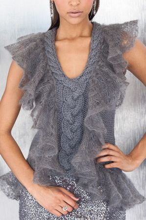 thick cable with ethereal lace ruffles