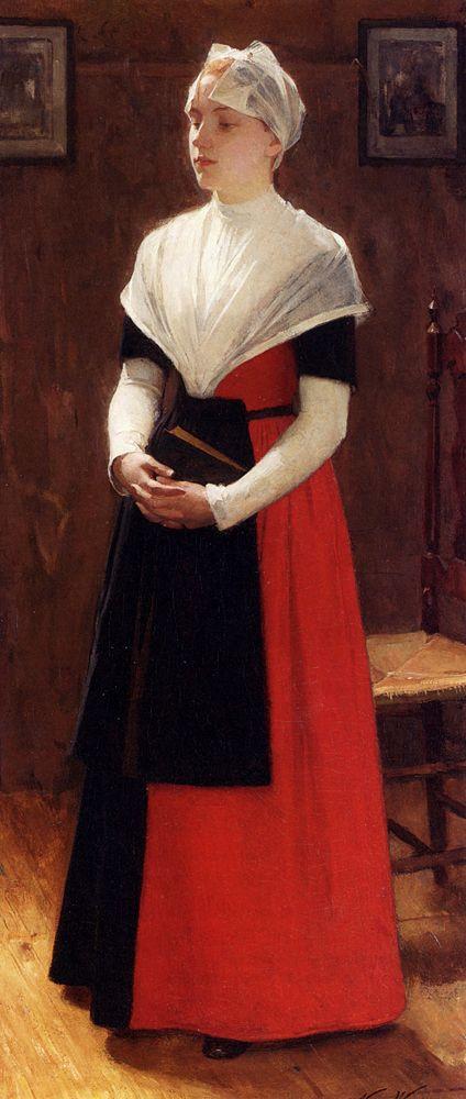 Nicolaas Van Der Waay (1855-1936) A Quiet Moment Oil on canvas  69.5 x 44 cm (27.36 x 17.32)