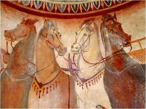 Getian horses from the Thracian tomb at Kazanlak, Bulgaria.