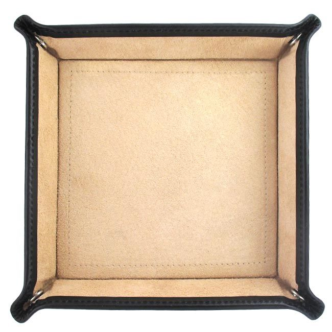 A perfect and practical leather square travel tray for travel or for everyday use. Handcrafted from the finest bridle calf leather and lined in natural suede. Travel tray is perfect for keeping all of your small items safe in one place.