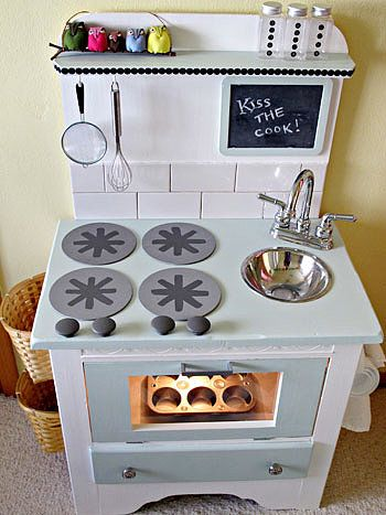 Redesign a Dresser: BabyCenter's Kelly and Kyle created their daughter's dream kitchen using Kyle's childhood dresser, along with other items they had around the house. See how they did it here. Source: BabyCenter Blog