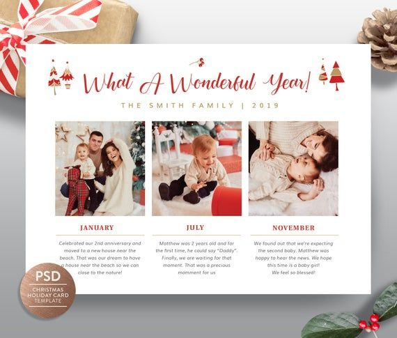 Year In Review Christmas Card Holiday Greeting Card Template New