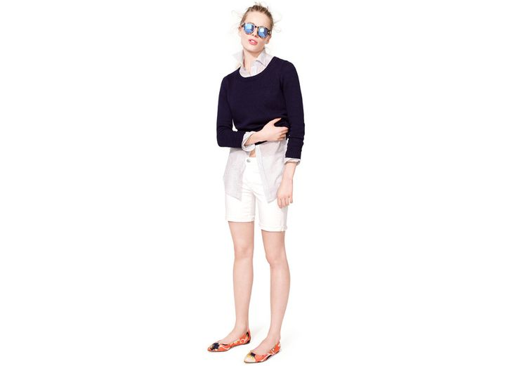 Preppy look - mixes it up with the oriental patterned flats and mirrored sunglasses. #layeredny J.Crew Looks We Love
