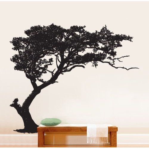 """Stickerbrand© Nature Vinyl Wall Art Tree Top Branches Wall Decal Sticker - Black, 44"""" x 100"""", Left to Right. Easy to Apply & Removable."""