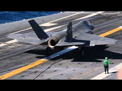 F-35C first trap aboard a U.S. Navy aircraft carrier. - YouTube