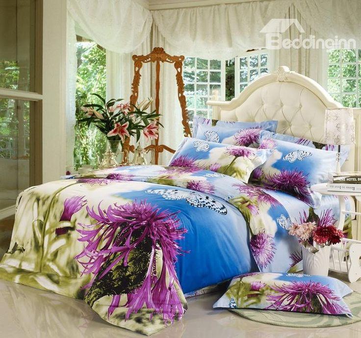 Stunning Flower and Butterfly Printed 4 Piece Bedding Sets