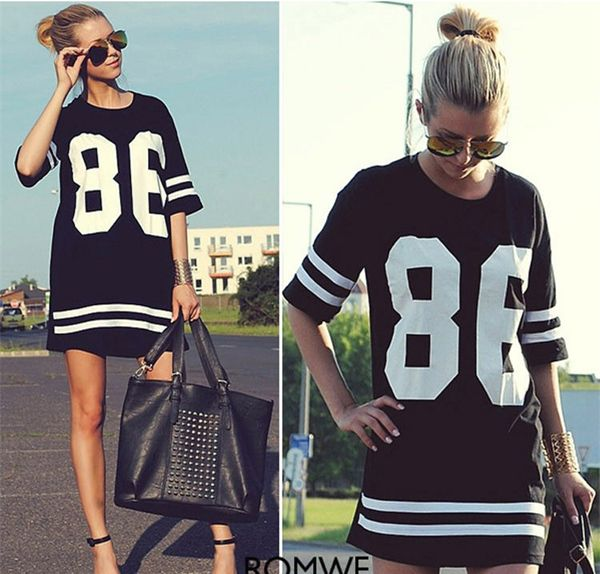 XL Size Shirt Women Celebrity Oversized 86 American Baseball Tee Black T-shirt Top Varsity Short Sleeve Loose Dress 850220