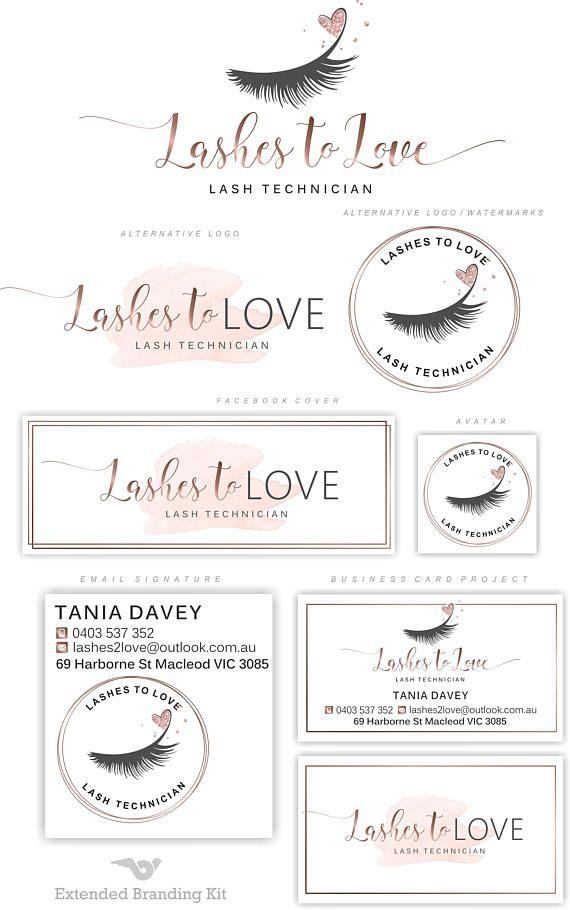 Lashes logo Eyelash extension logo Cosmetics logo Branding