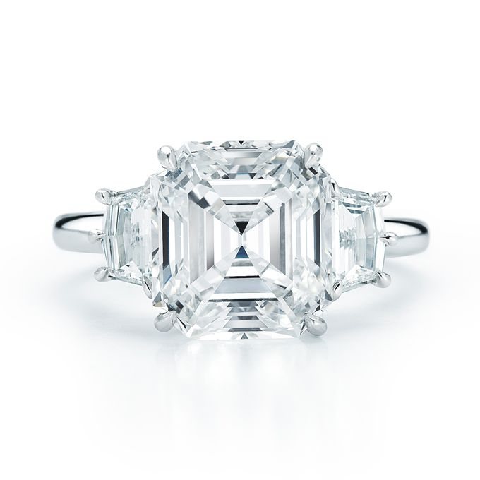 Brides.com: Three-Stone Engagement Rings. Style 17614E, 4.50 carat emerald-cut diamond set in platinum, price upon request, Kwiat                                                                                                                See more Kwiat engagement rings.