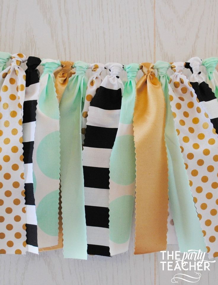 Mint and Gold Fabric Tie Garland | $29