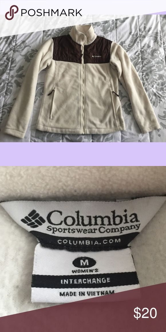 Columbia cream & brown zip up size Medium Columbia cream and brown zip up size medium. No rips, tears, or stains, pet and smoke free. No trades Columbia Tops Sweatshirts & Hoodies