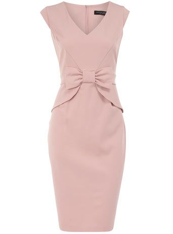 Rose peplum bow dress