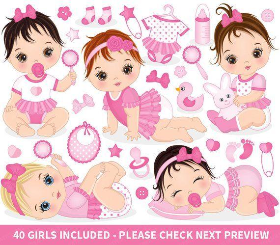 Baby Girl Clipart Vector Baby Clipart Baby Clipart Newborn Etsy Baby Shower Clipart Girl Clipart Baby Clip Art