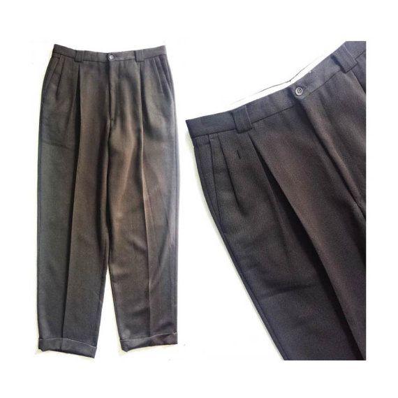 1990s vintage mens deadstock corduroy brown tuxedo stripe pants size medium 30x29 5NrhnNpr