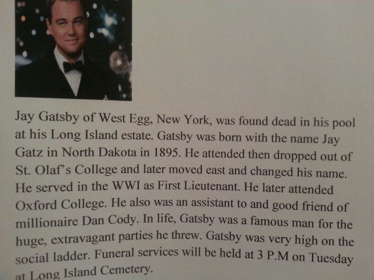 Article on Great Gatsby's death?300-400 words