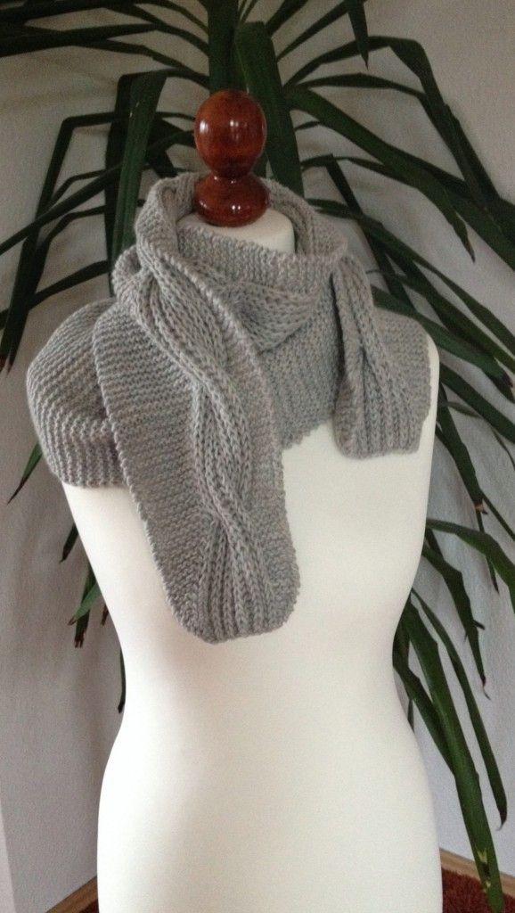 zweiseitiger Schal mit Patentmusterzopf-free pattern