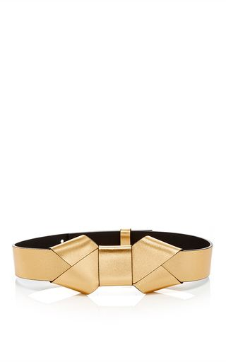 Gold Lamb Leather Belt With Bow by MARNI Now Available on Moda Operandi