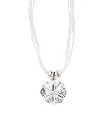 Another great find on #zulily! White Bead & Silvertone Sand Dollar Necklace #zulilyfinds