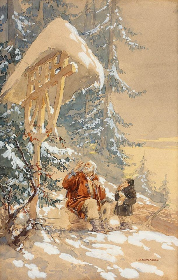 La troiță - Ignat Bednarik / 1882 (acuarelă) At the roadside cross - Ignat Bednarik / 1882 (watercolor)  https://ro-ro.facebook.com/lumea.picturilor