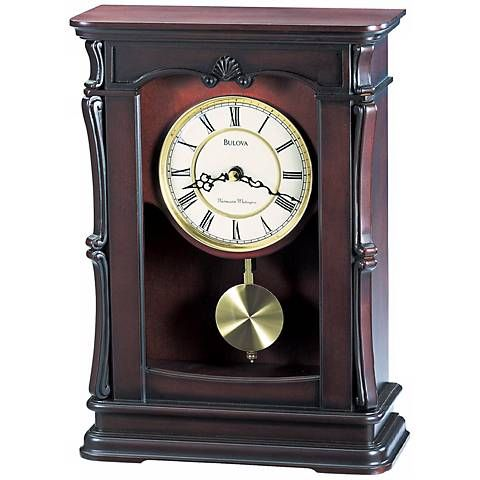 Abbeville Walnut 13 1 4 High Bulova Mantel Clock F6799 Lamps Plus Clock Mantel Clocks Tabletop Clocks