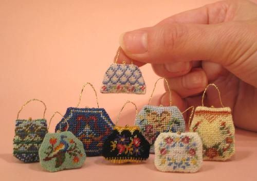 Mini needlepoint handbag kits by Janet Granger