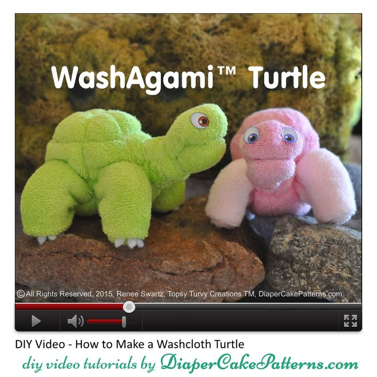 How To Make a Washcloth Turtle or Sea Turtle Video Tutorial | Diaper Cake Patterns & Videos