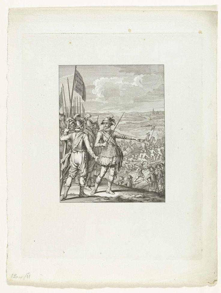 Theodoor Koning | Het leger van de prins steekt de Maas over, 1568, Theodoor Koning, Jacobus Buys, Jacobus Buys, 1779 | Willem van Oranje, staande op de voorgrond tussen zijn officieren, wijst zijn leger de weg bij het oversteken van de Maas, oktober 1568. Eerste zang.