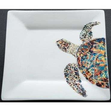 """Whimsical """"Navigator Turtle"""" square porcelain dish is great for appetizers or dips! #beachentertaining #coastaltablescape"""