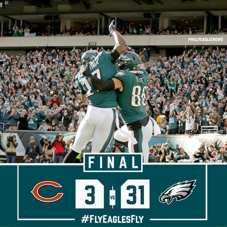 Eagles blow out the Bears 31-3 and move to 10-1. Dominate performance all the way around today even with all the penalties and fumbles. Defense completely shut down Jordan Howard and the rest of the Bears offense. Zach Ertz eclipsed 100 yards receiving which is the first for any Eagles receiver this year. If the Redskins defeat the Cowboys this Thursday the Eagles are the 2017 NFC East Champions.  #EaglesNation #Eagles #Philly #Philadelphia #PhiladelphiaEagles #FlyEaglesFly #BleedGreen