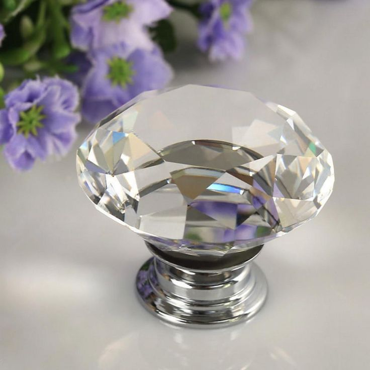 1 pc new diamond clear crystal glass door pull drawer cabinet furniture accessory handle knob screw hot worldwide
