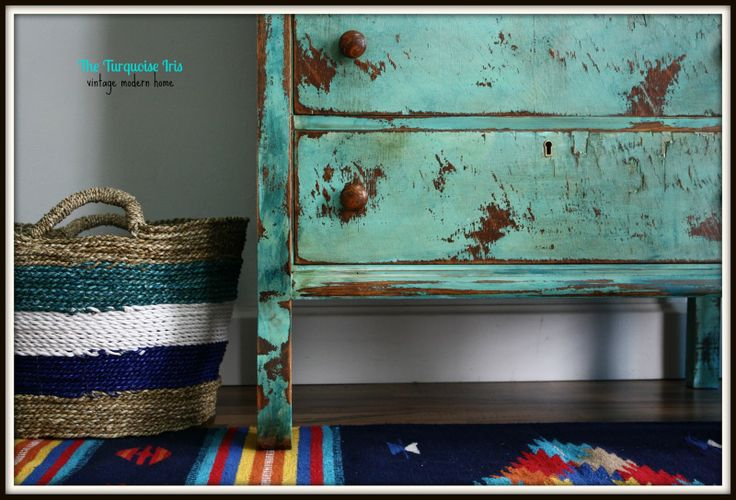 distressed turquoise furniture | am loving all the texture going on in the shot!