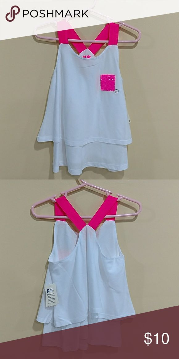 AEROPOSTALE HIGH LOW TANK SIZE 5 P.S. FROM AEROPOSTALE TANK SIZE 5. WHITE WITH PINK STRETCH BANDS. LAST CHANCE TO PURCHASE. SUMMER ITEMS GOING SOON. NWT. Aeropostale Shirts & Tops Tank Tops