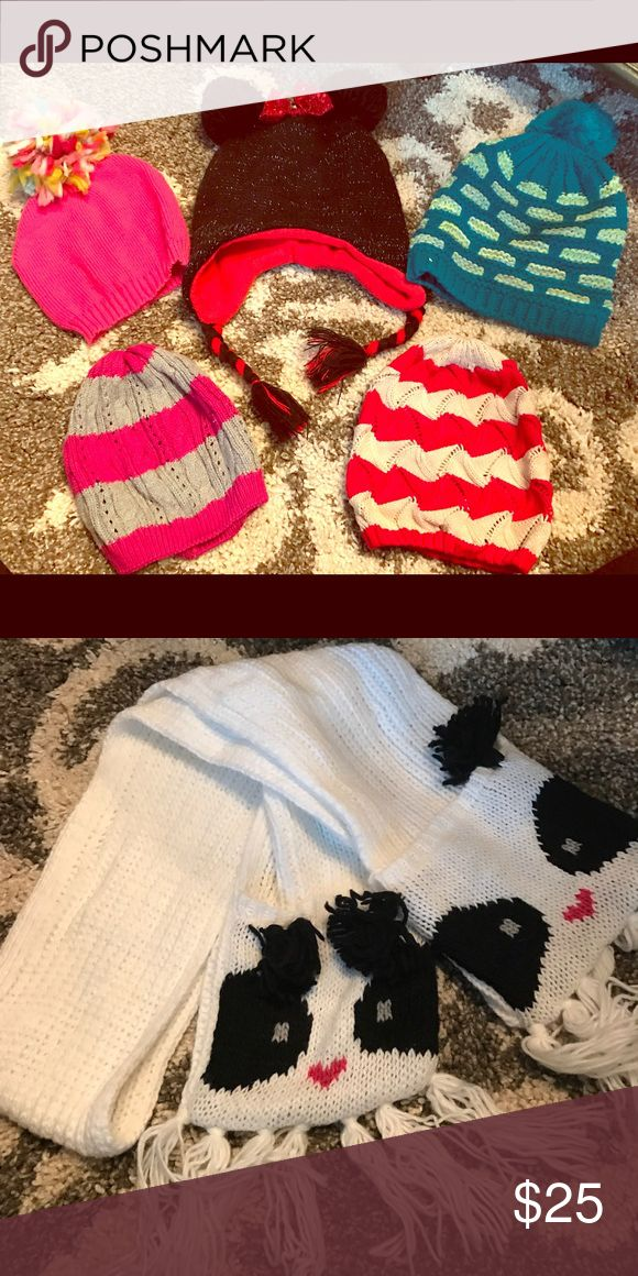 Girls winter hat and scarf bundle. Variety of girls winter hats size m/l ( fits ages 3-6) Gap, old navy, boutique and Disney. Scarf is a knitted scarf with panda face and has little cups on the bottoms for your hands. Accessories Hats