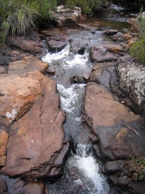 Arve Falls, Tahune Forest Reserve via Geeveston (nearby Tahune AirWalk).