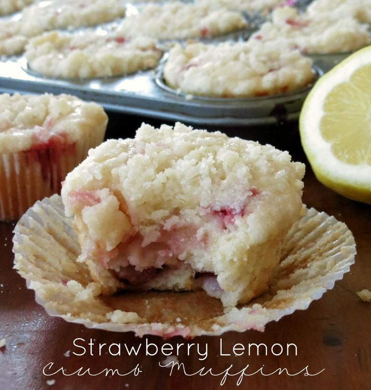 Strawberry Lemon Crumb Muffins. The yummiest, freshest tasting muffins ever! Perfect for breakfast.